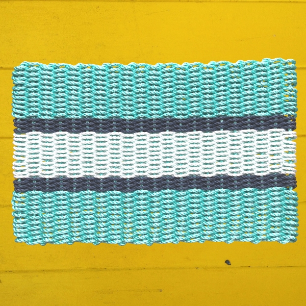 Teal, Navy, Seafoam Lobster Rope Doormat