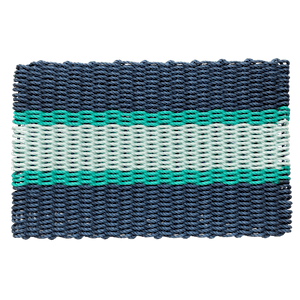 Wicked Good Lobster Rope Doormat, Navy With 2 Green Stripes